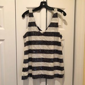 J. Crew Navy and White sequined tank, size XL
